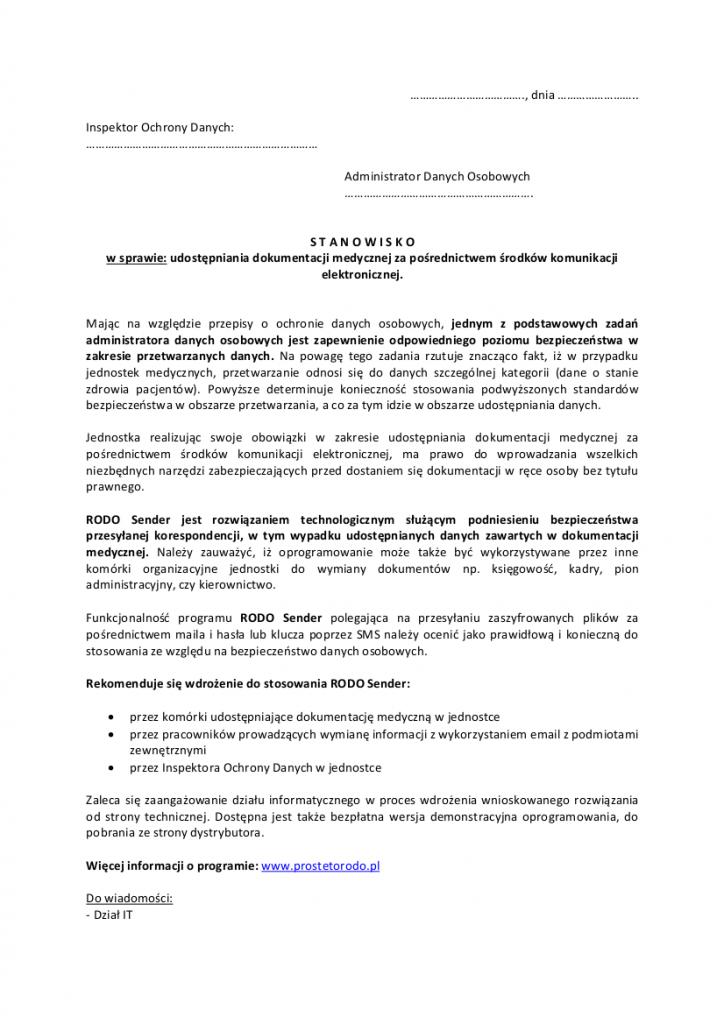 Rekomendacja do stosowania RODO Sender w jednostce medycznej