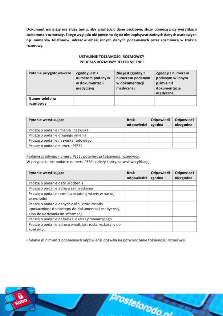 Schemat rozmowy jak ustalić tożsamość rozmówcy pacjenta