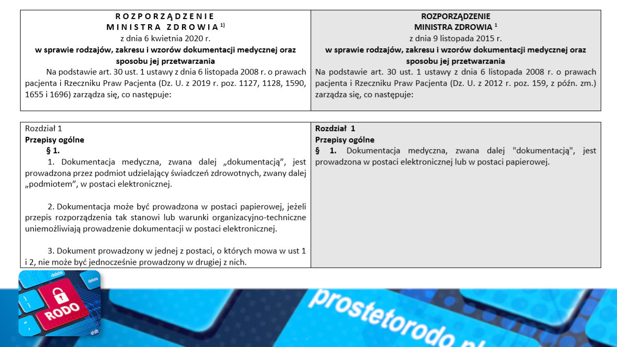 Porównanie przepisów rozporządzenia w sprawie dokumentacji medycznej