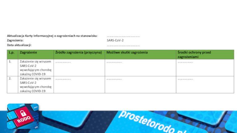 Aktualizacja karty informacyjnej zagrożenia na stanowisku pracy COVID-19