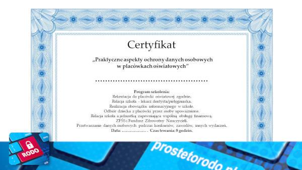 Certyfikaty szkoleniowe Proste to RODO
