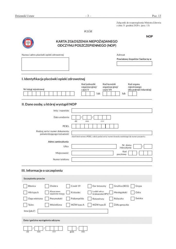 Wzór karty zgłoszenia niepożądanego odczynu poszczepiennego